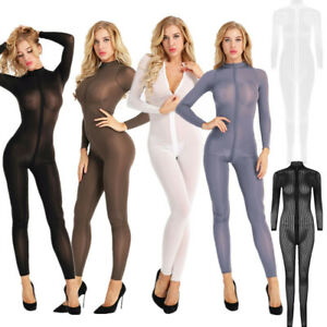 Women-Long-Sleeve-Sheer-Jumpsuit-Zipper-Open-Crotch-Bodysuit-Yoga-Night-Lingerie