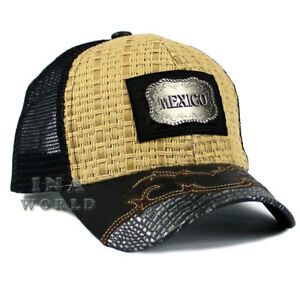 4ec3895c672 MEXICAN hat MEXICO Straw Woven Mesh Western Style Snapback Baseball ...
