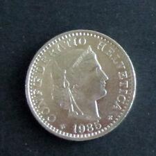 Münze 20 Rappen Schweizer Franken 1985 aus Umlauf gültiges Zahlungsmittel