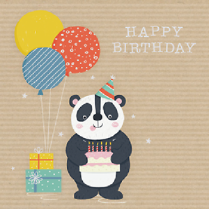 Image Is Loading Panda Happy Birthday Greeting Card For Royal Trinity