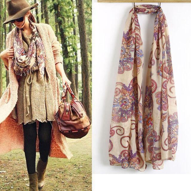Womens Long Soft Chiffon Scarf Wrap Large Silk Winter Shawl Stole Scarves