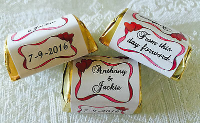 300 HEART BORDER WEDDING Hershey Nugget WRAPPERS/LABELS personalized PARTY FAVOR