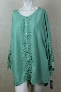 0f0e78efef0 Image is loading JM-Collection-Plus-Size-Lace-Trim-Tunic-Palm-