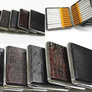 POCKET-CIGARETTE-CASE-Metal-Faux-Leather-Tin-Holder-Tobacco-Smoking-Box