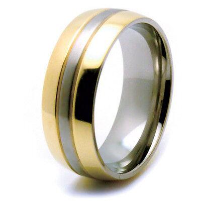 Titanium Traditional Bridal Wedding Engagement Band Two-Tone Gold IP Edges Ring