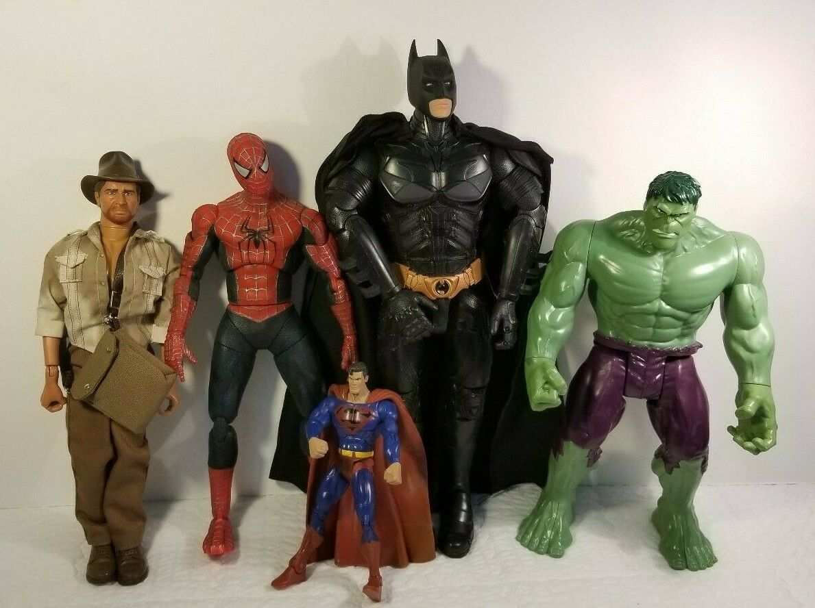 Lot Five (5) Super Heroes Figures Batman Spiderman Hulk Indiana Jones & Superman