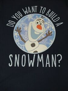 Nwot-Disney-Frozen-Olaf-Do-Voi-Wanna-Crea-Pupazzo-di-Neve-Blu-L-T-Shirt-D229