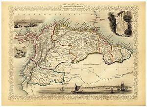 Old Vintage Map Venezuela Colombia Equador richly illustrated Tallis 1851