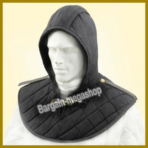 KNOWLE Medieval Chain Mail Padded Arming Cap Cotton Padded Inner Cap Black Color