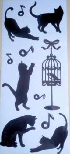 7tlg sticker machines à laver autocollant Noir NEUF tatouage Chats Motif