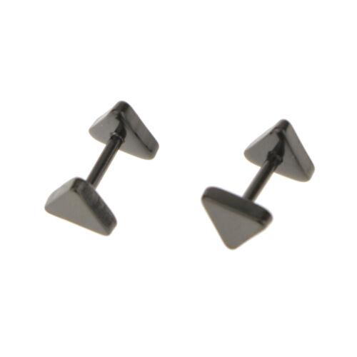 Punk Mens 316L  Triangle Barbell Ear Studs Earrings Jewelry
