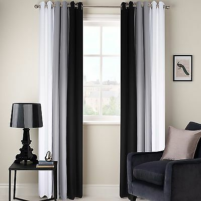 Ring Top Fully Lined 3 Tone Ready Made Pair Of Eyelet Curtains Black Grey White