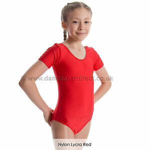 67decfdca Girls Short Sleeve Plain Ballet Dance Gymnastics Leotard Shiny Nylon ...