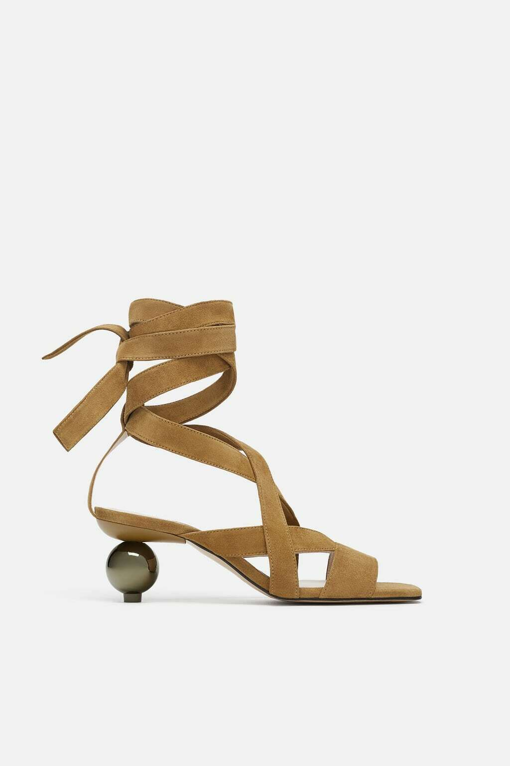 ZARA ROUND HEEL SUEDE REAL LEATHER SANDALS SIZE EU 38 US 7.5 UK 5
