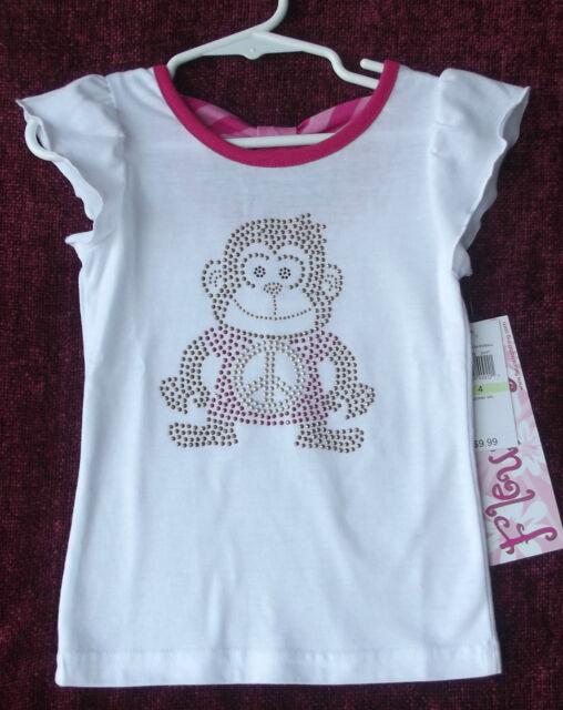 """Fleurish Girl Embellished """"Monkey"""" White/Pink Short Sleeve T-Shirt 4 NWT G82225"""