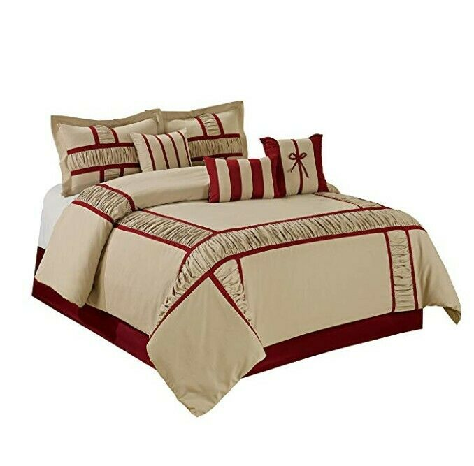 New QUEEN Dimensione 7 Piece MARMA Comforter Set Taupe and Burgundy