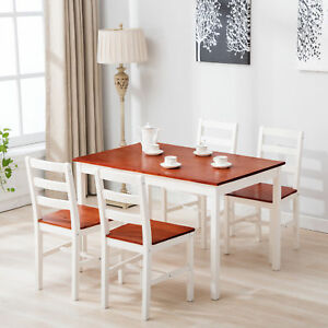 Stylish Solid Pinewood Dining Table Set of 4 Chairs Home Kitchen Furniture