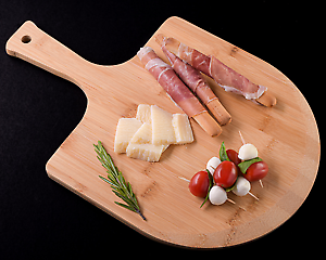 Gourmet Pizza Charcuterie Cheese Peel Handle Wood Tray Serving Bamboo Cutting