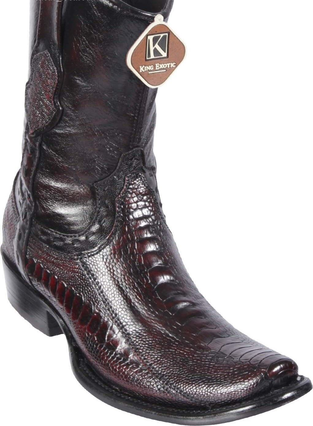 King Exotic CHERRY OSTRICH LEG Western Boot Side Zipper Mid Calf EE