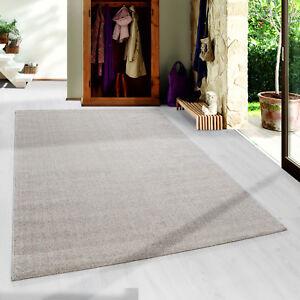 Moderner-Kurzflor-Teppich-Uni-Einfarbig-Gabbeh-optik-Wohnzimmer-Beige-Meliert
