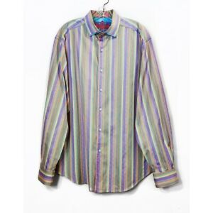 Robert-Graham-Colorful-Stripe-Button-Down-Shirt-Purple-Green-Flip-Cuff-Mens-Sz-L