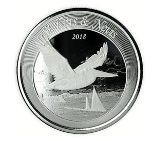 2018-silver-ST-KITTS-amp-NEVIS-Pelican-1-oz-ounce-coin-2-dollars-new-RARE