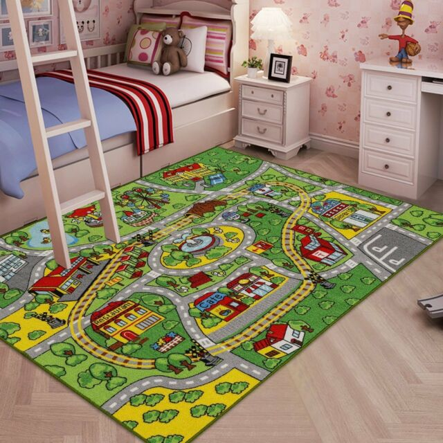 Jackson Large Kid Rug For Toy Cars Safe And Fun With Non Slip