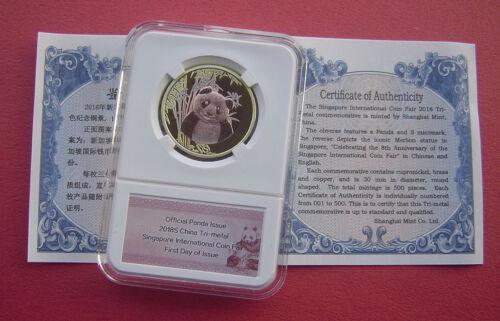 China 2018-S Singapore Int/'l Coin Fair Tri-Metallic Medal Offcial Panda Issue