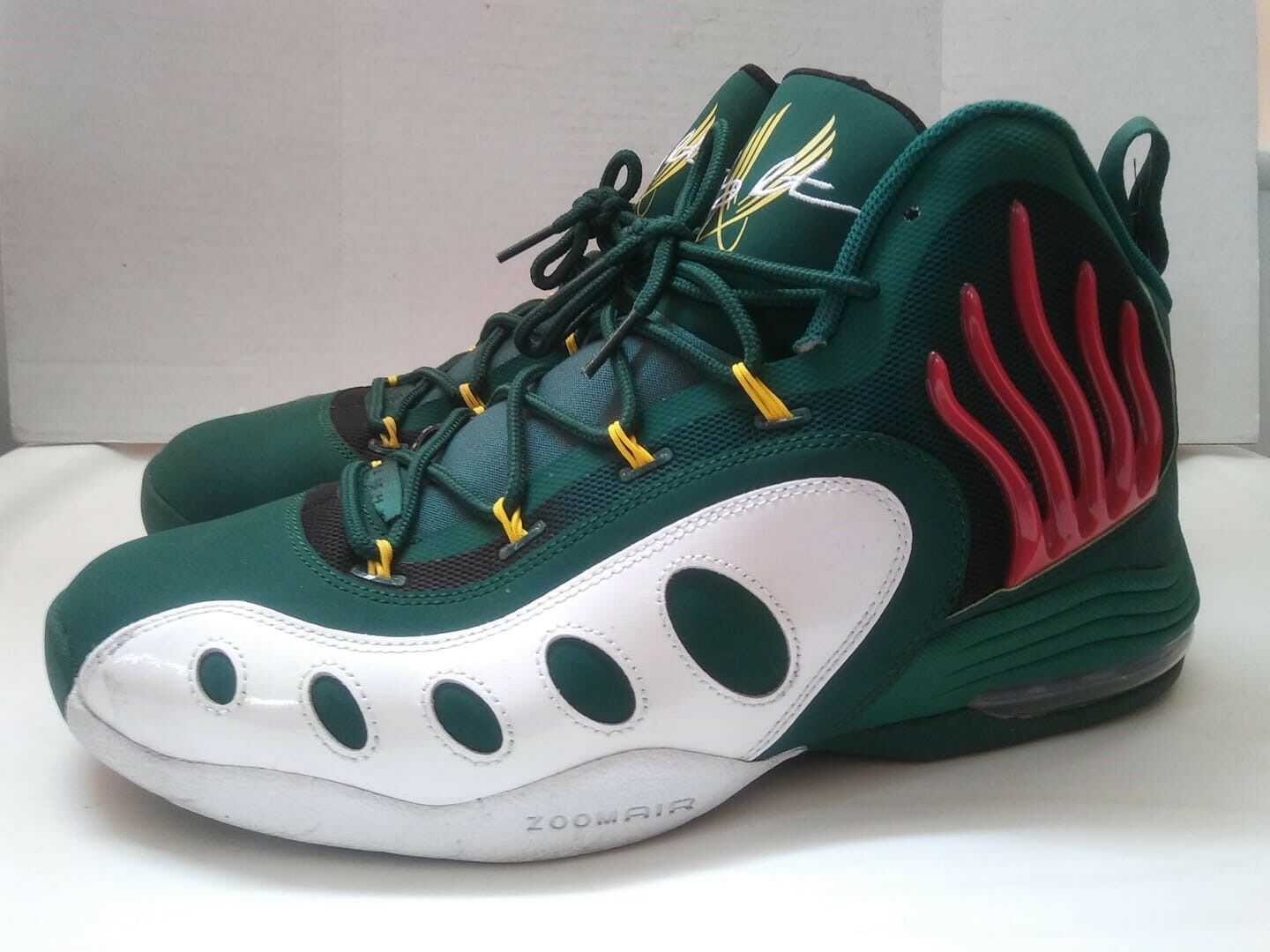 Nike Air Sonic Flight Gary Payton Flames Green Shoes Zoomair Sz 11.5 Great Cond
