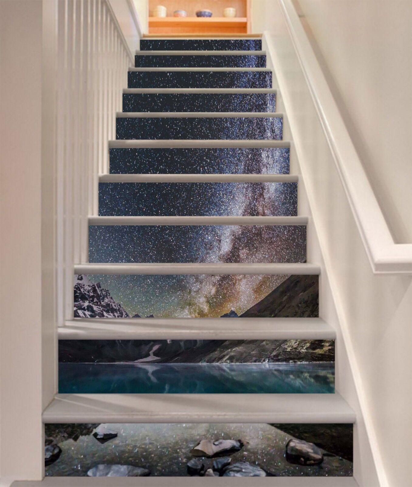 3D Hills Night Lake Stair Risers Decoration Photo Mural Vinyl Decal Wallpaper US