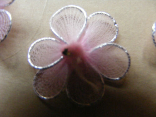 10 Pieces BNIP Craftime Pink Mesh Flowers AC0110C Colour Connections