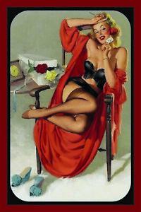 Pin-Up-Girl-sur-Chaise-Panneau-Metallique-Plaque-Voute-Etain-Signer-20-X-30-CM