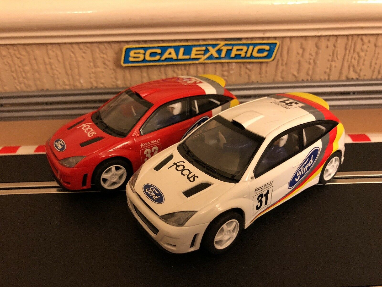 Scalextric Ford Focus WRC No31 & No32 Both Fully Serviced & New Braids Fitted