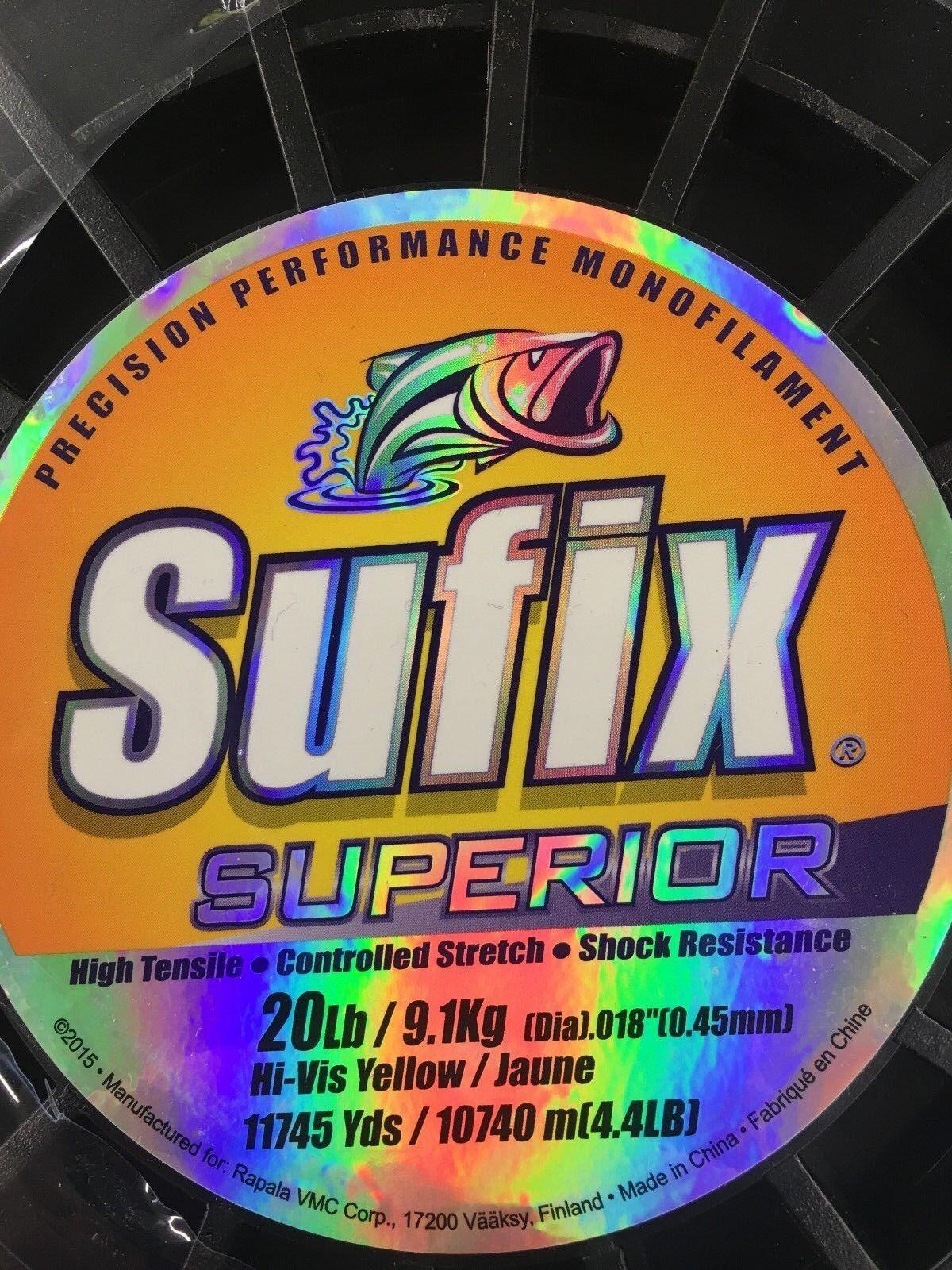 Sufix Monofilamento de rendimiento de precisión Hi-Vis amarillo  de 20 lb de resistencia de choque  calidad de primera clase