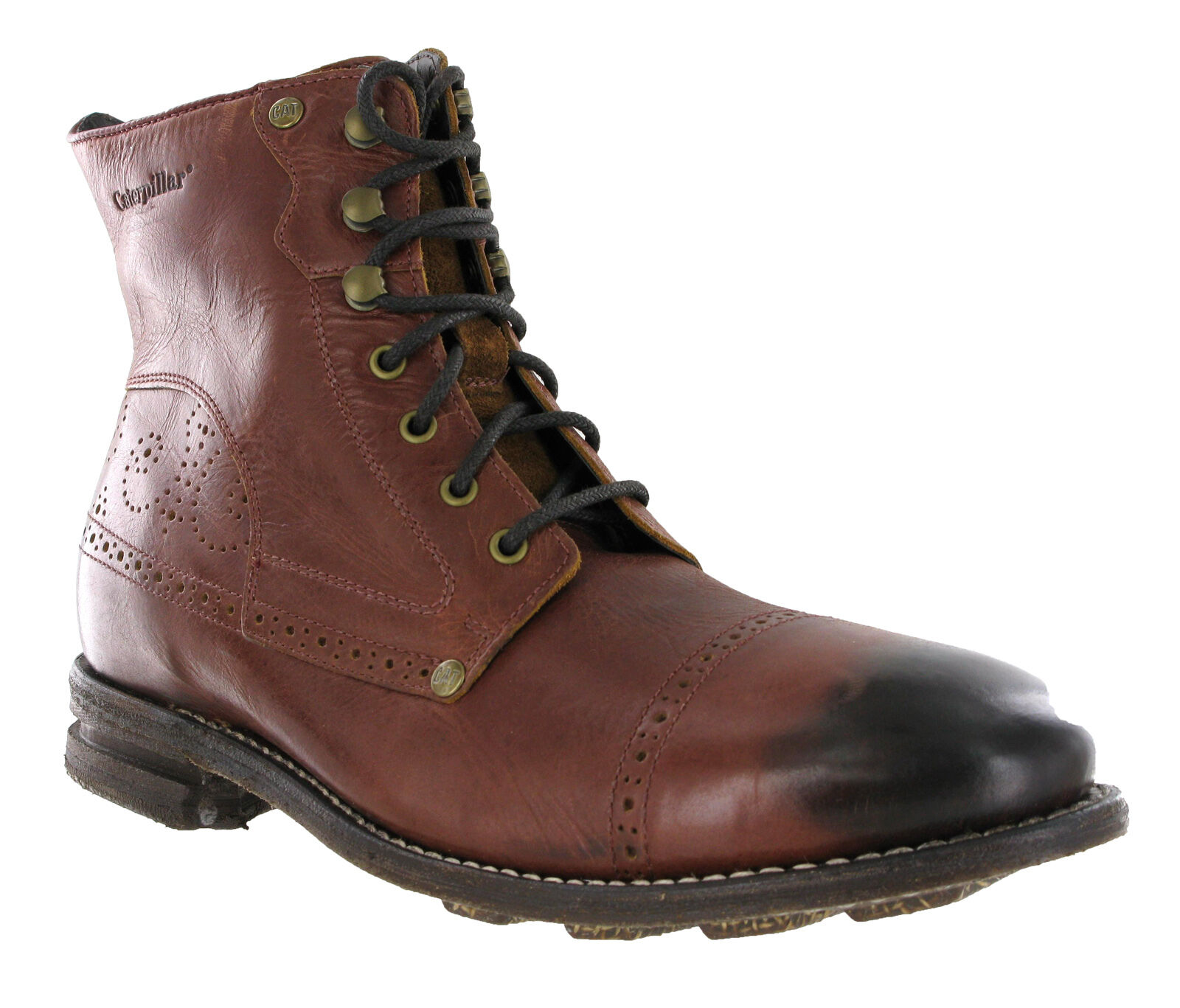CAT Caterpillar Raw Murray Braun ROT Leder Mens Brogue Ankle Stiefel Gre 6-12