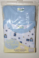 2 Pack Boy Newborn Infant Blue Snap-tee Bodysuit Creeper One-piece Underwear