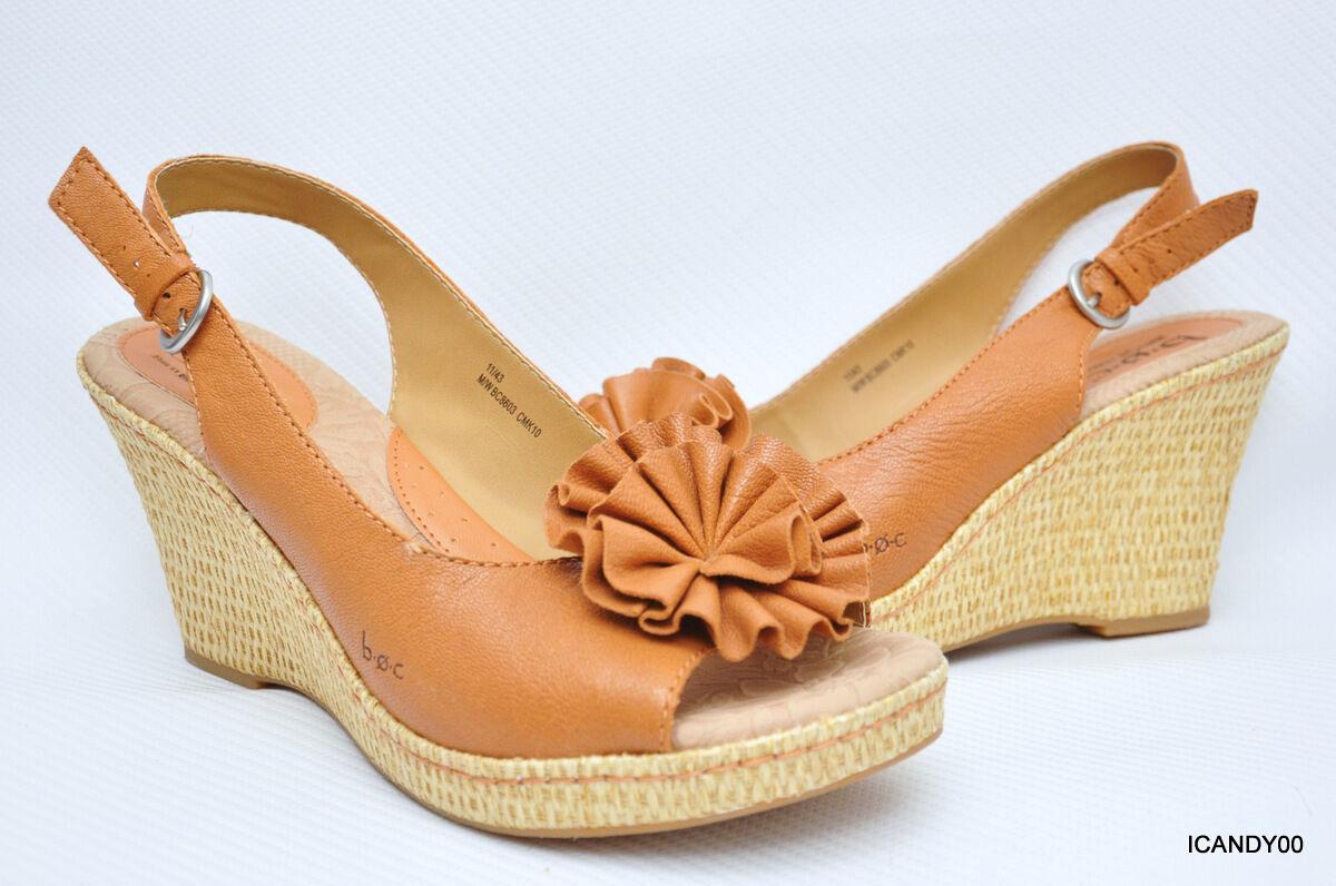 b747ab44e3 New BOC Born Concept Leather Wedge Flower Platform Sandal BC8603 Brown 11  43 ifaqci2263-Women's Sandals