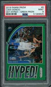 Luka Doncic 2019 Panini Green Prizm Get Hyped Basketball Card #6 PSA 9