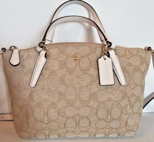 8b08478ece20 New Coach 57830 mini Kelsey Canvas Leather trim mini Satchel Light Khaki  Chalk