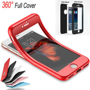 premium selection eac2f 561ec Details about 360° Rubber TPU Full Body Cover Shockproof Phone Case For  iPhone 5s 6s 7 8Plus X