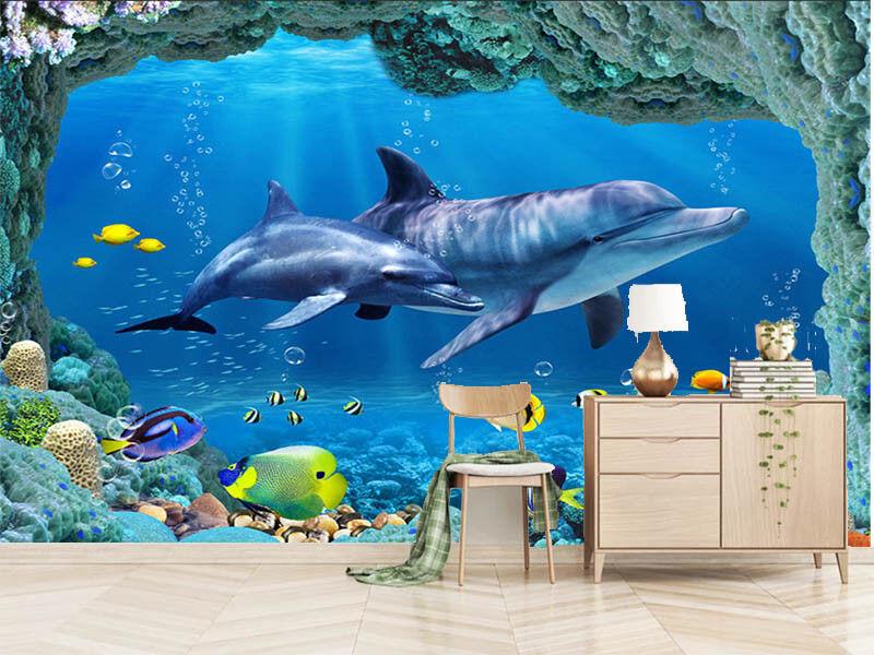 Later Blau Dolphin 3D Full Wall Mural Photo Wallpaper Printing Home Kids Decor