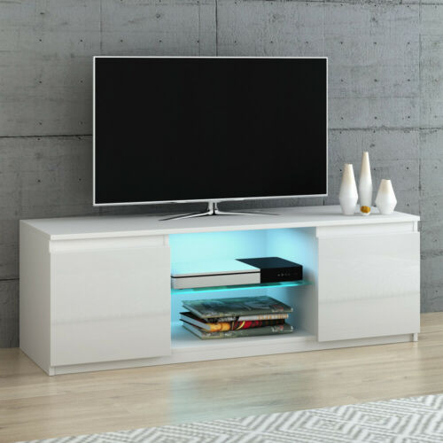Modern 120cm TV Unit Cabinet Stand White High Gloss 2 Doors Sideboard RGB LED
