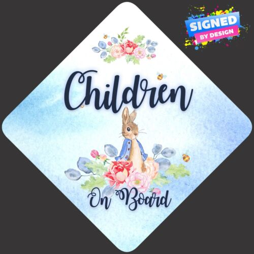 Non Personalised Child//Baby On Board Car Sign ~ Peter Rabbit Children On Board