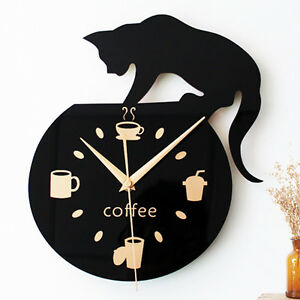 Image Is Loading Kitchen Wall Clock Modern Design Cat Climbing Coffee