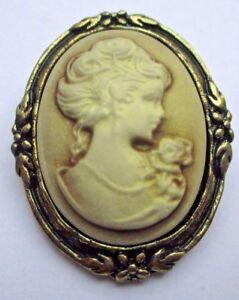 Intelligent Broche Bijou Style Vintage Couleur Vieil Or Camée Buste Femme Beige Relief 1827 Marchandises De Proximité