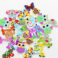 50x Mixed Cartoon Animal 2 Holes Wooden Buttons Sewing Craft Scrapbooking DIY