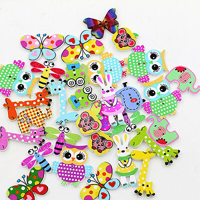 50Pcs Mixed Cartoon Animal Wooden Buttons Sewing Craft Scrapbooking DIY Enticing