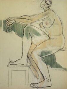 """Special Buy """"akt Und Hocker"""" Zeichnung Auf Papier Hospitable Franziskus Dellgruen Attr 1901-1984"""