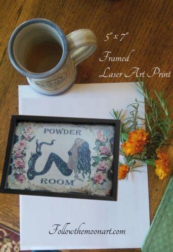 Powder Room Pretty Black haired Mermaid Pink Roses Sunbathing Framed Art Print