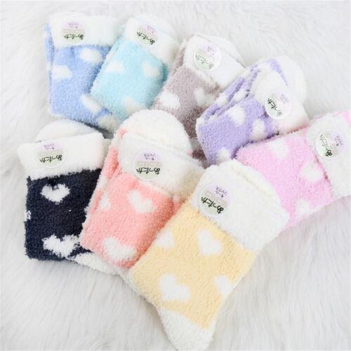 1 Pair Women Girl Coral Fleece Heart Pattern Fuzzy Fluffy Cosy Winter Warm Socks